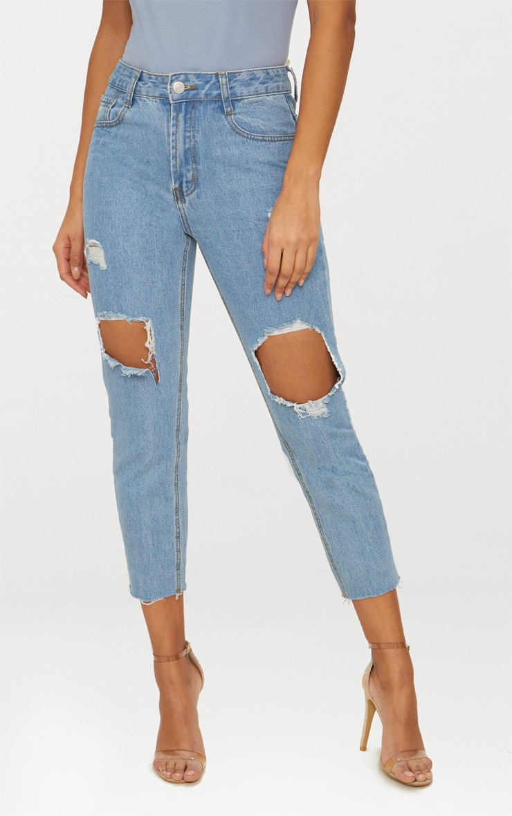 Light Wash Open Knee Raw Hem Straight Leg Jean 2