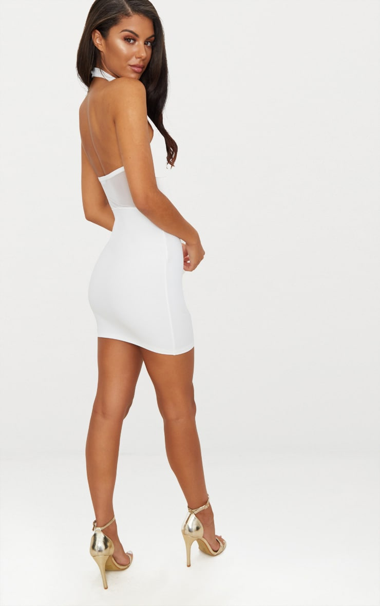 White Lace Trim High Neck Sheer Top Bodycon Dress 4