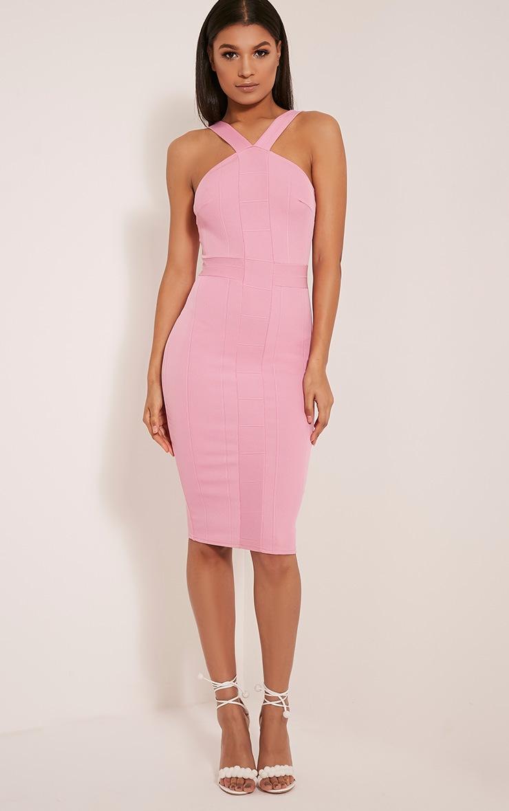 Meryl Bubblegum Pink Bandage Strap Detail Bodycon Dress 1