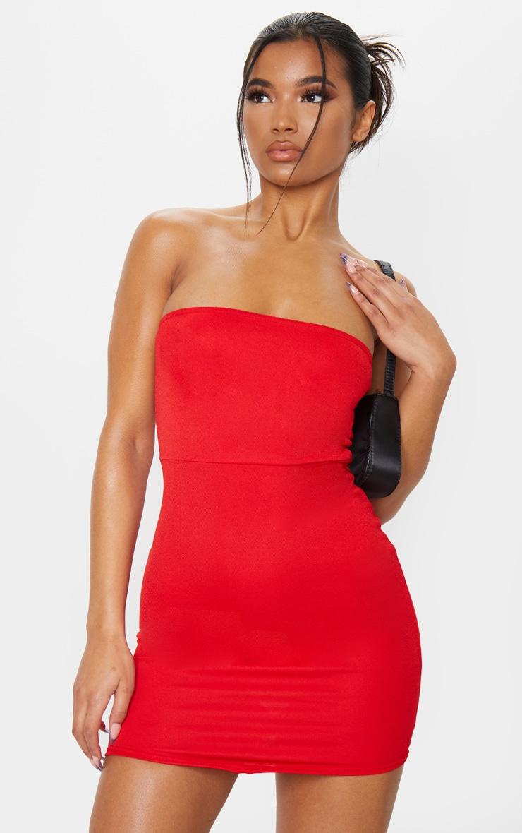 Red Pointy Hem Bandeau Bodycon Dress image 1