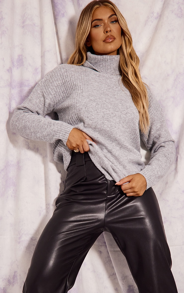 Recycled Grey Knitted Slouchy Roll Neck Sweater 3