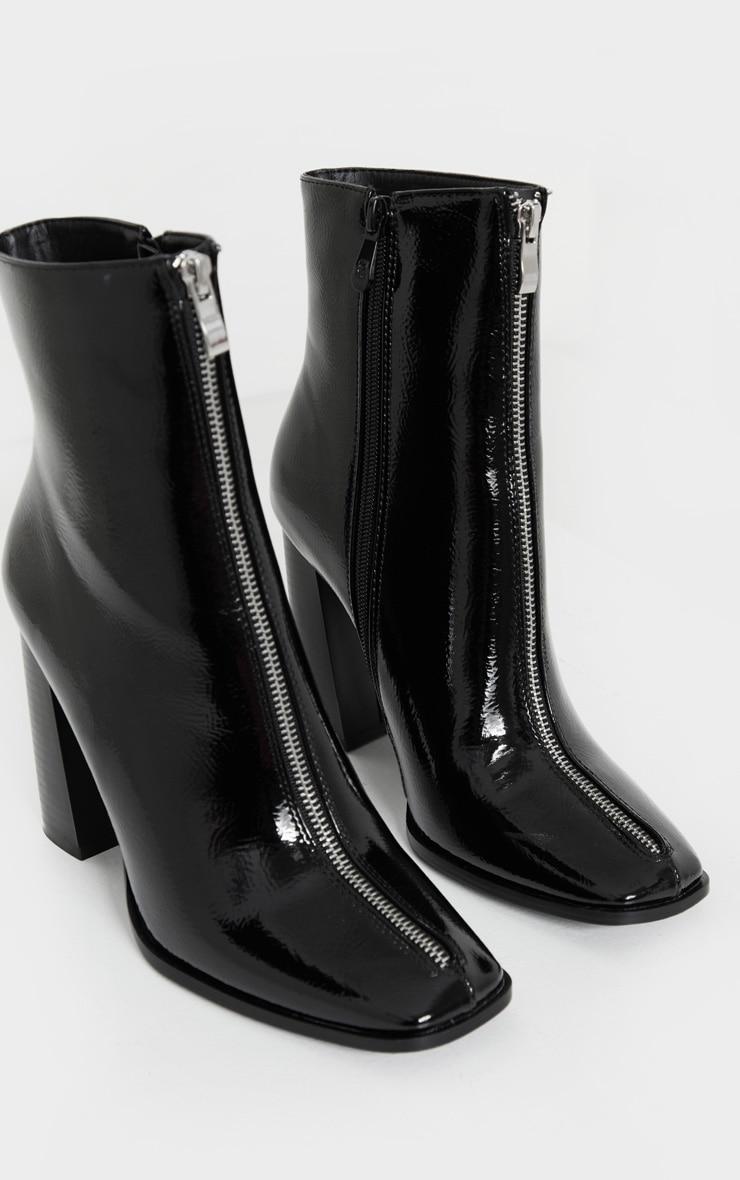Black Zip Front Block Heel Ankle Boot 4