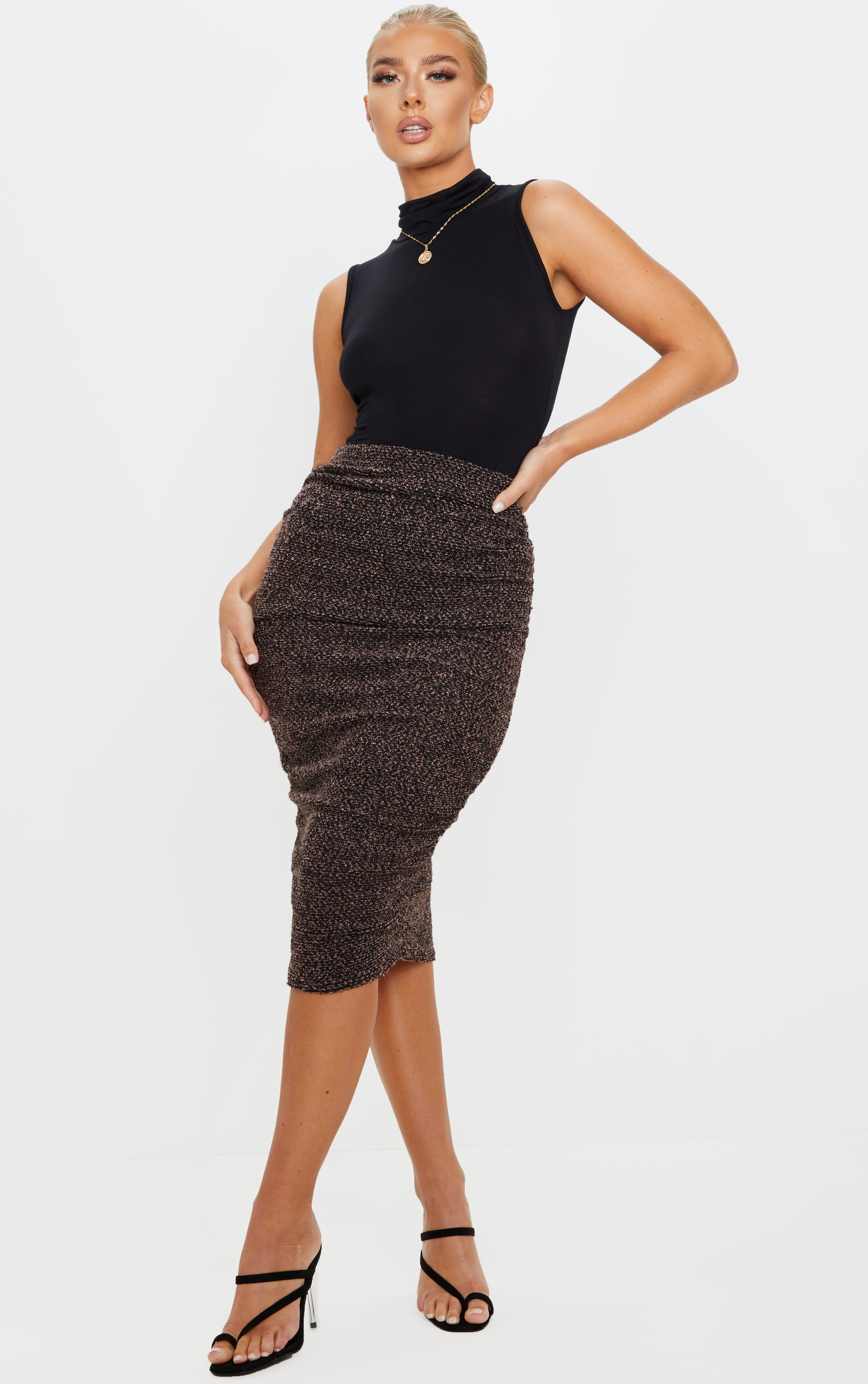 Camel Boucle Ruched Midi Skirt  1