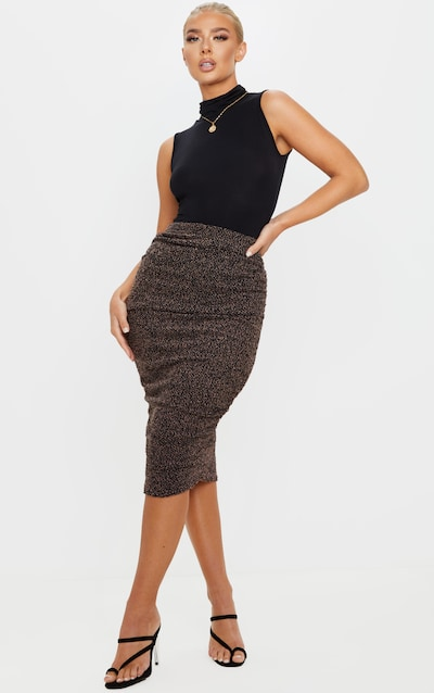 Camel Boucle Ruched Midi Skirt