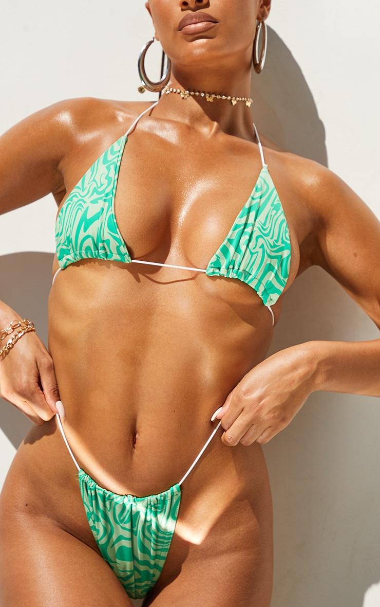 Green Swirl Print Tanga Bikini Bottoms 1