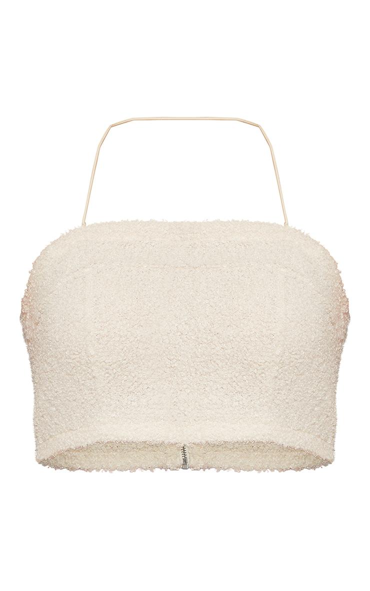 Beige Towel Halterneck Crop Top 6