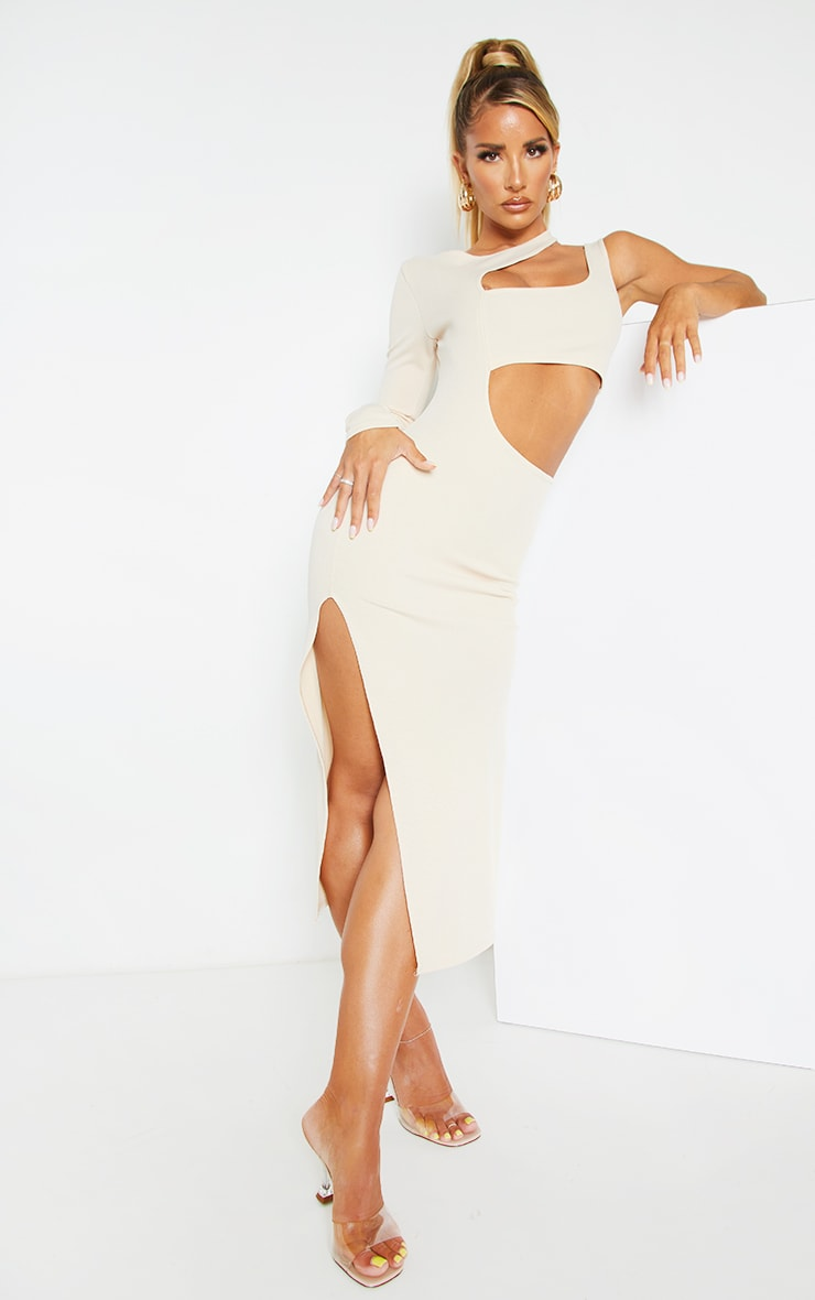 Stone Ribbed One Shoulder Cut Out Detail Midi Dress 1