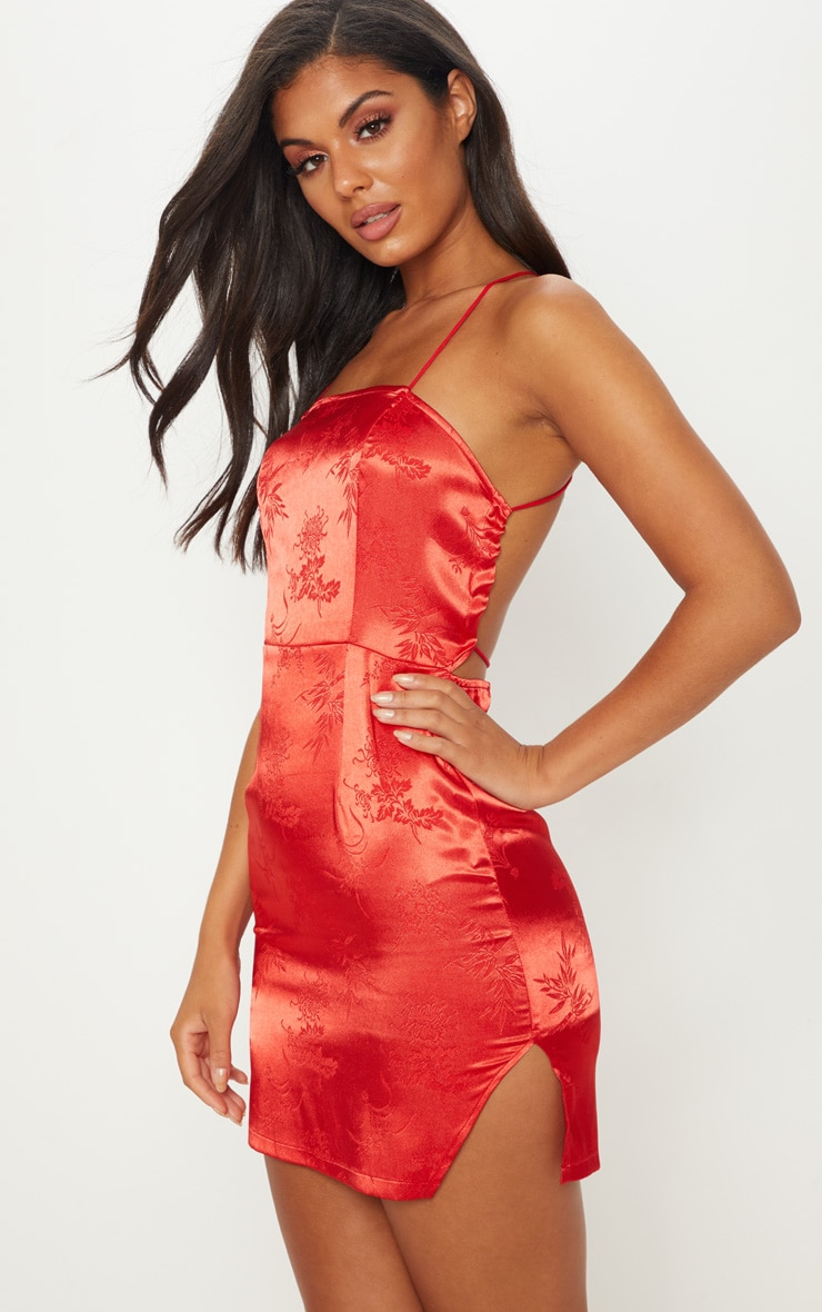Red Satin Oriental Lace Up Back Bodycon Dress