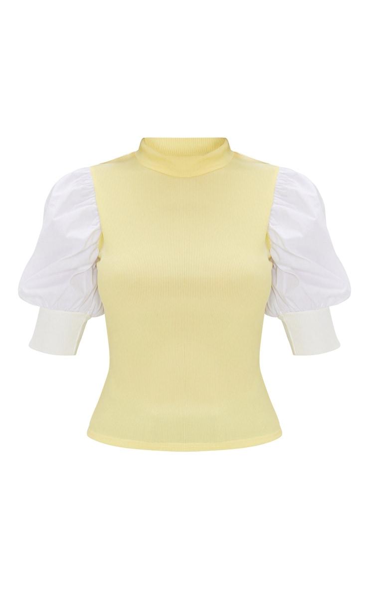 Yellow Rib Puff Short Sleeve Top 5