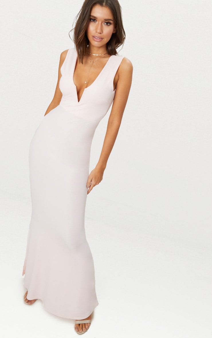 Nude V Bar Plunge Maxi Dress 1