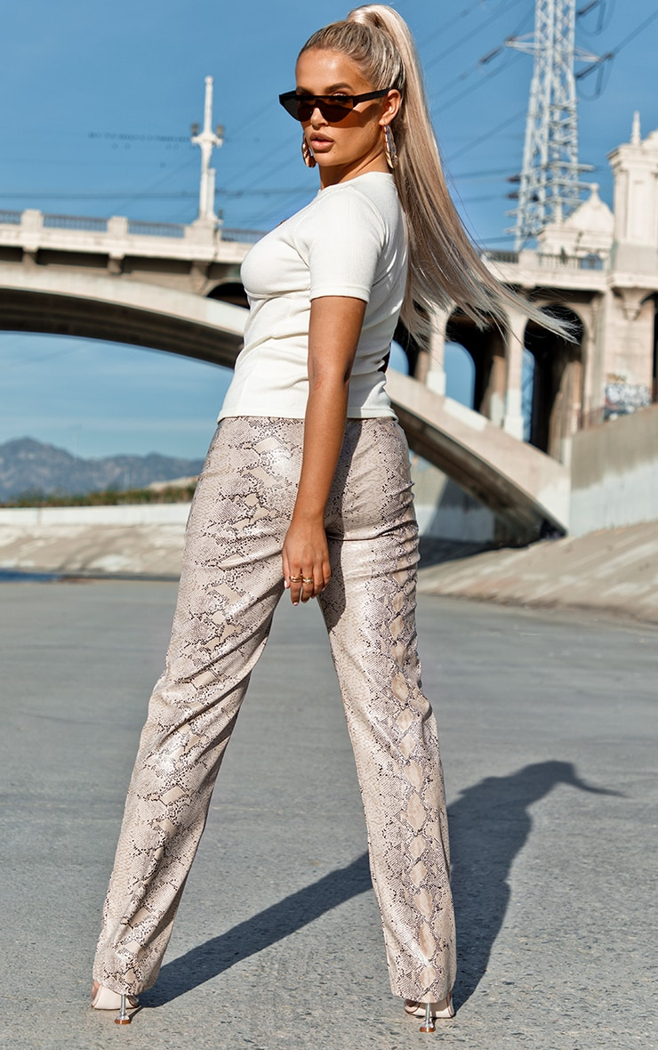 Taupe Snake Print V Waist Trousers 4