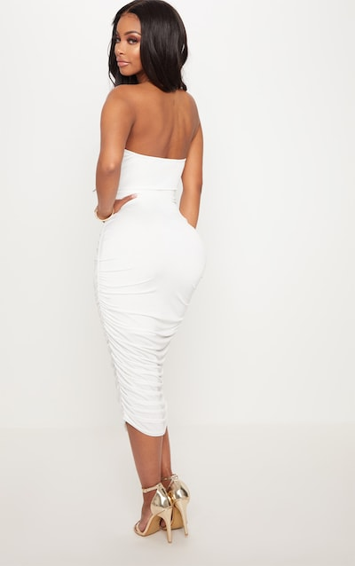Shape White Slinky Cut Out Ruched Bandeau Midi Dress