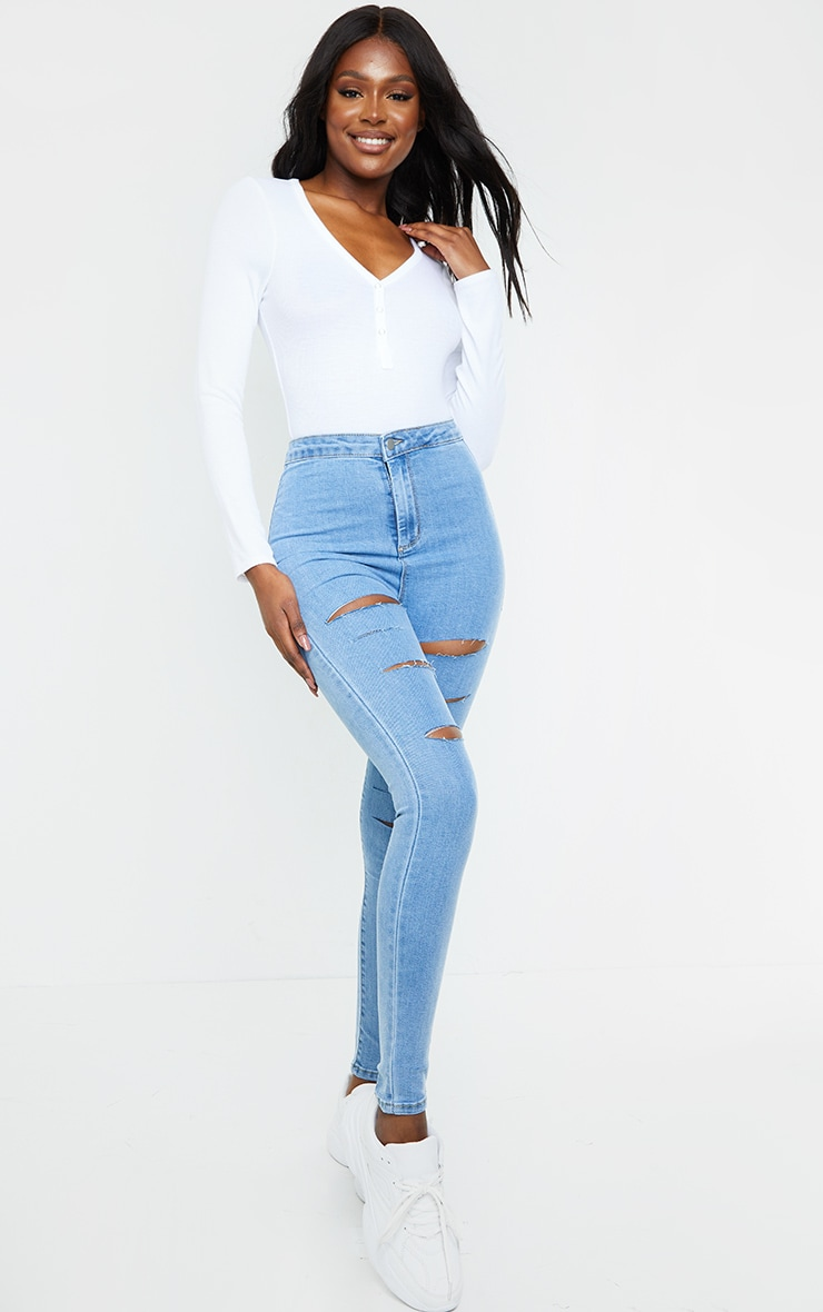 PRETTYLITTLETHING Tall Light Blue Rip Distressed Disco Skinny Jeans 1