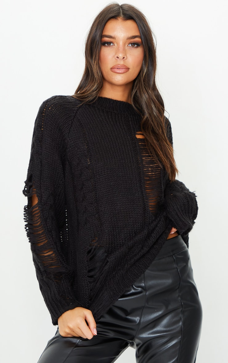 Black Distressed Cable Knit Oversized Sweater 1