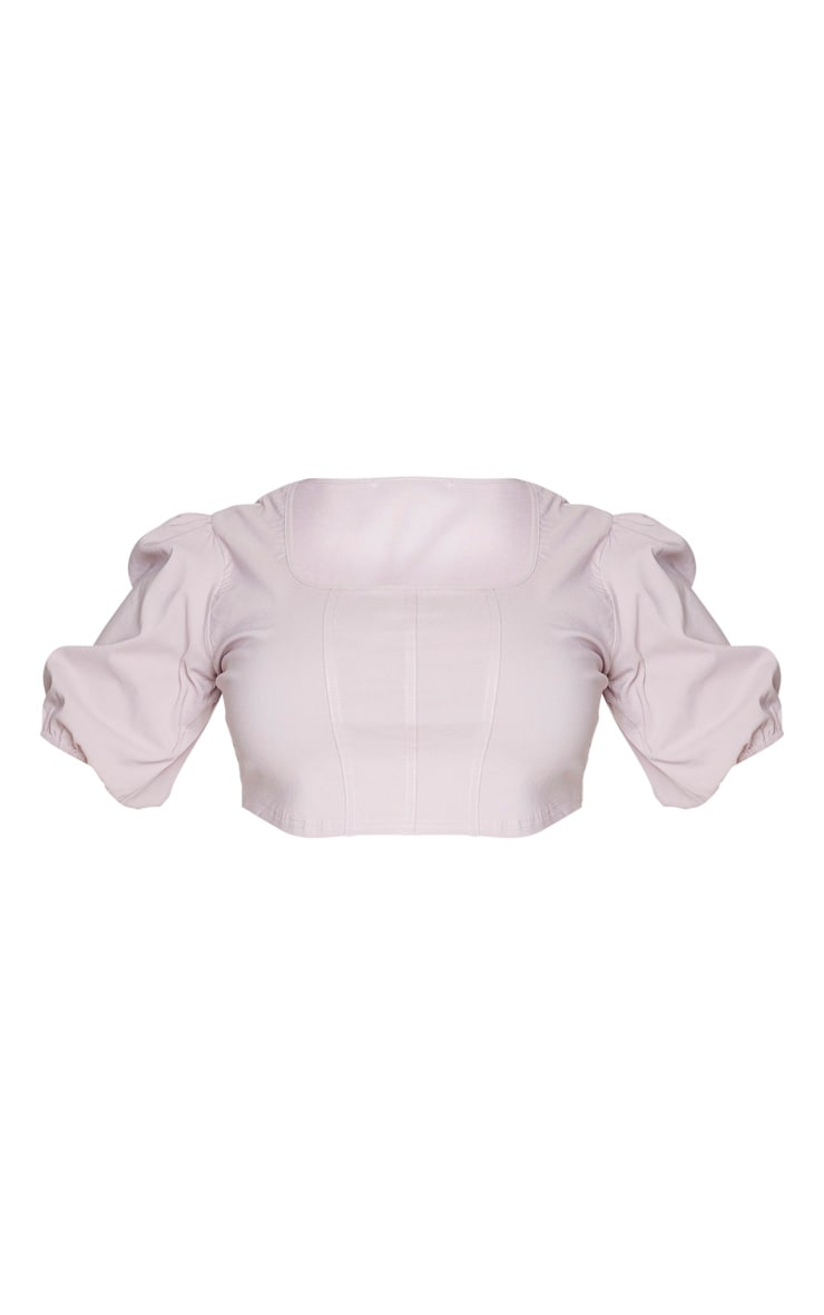 Plus Dusty Pink Stretch Seam Detail Puff Sleeve Crop Top 5