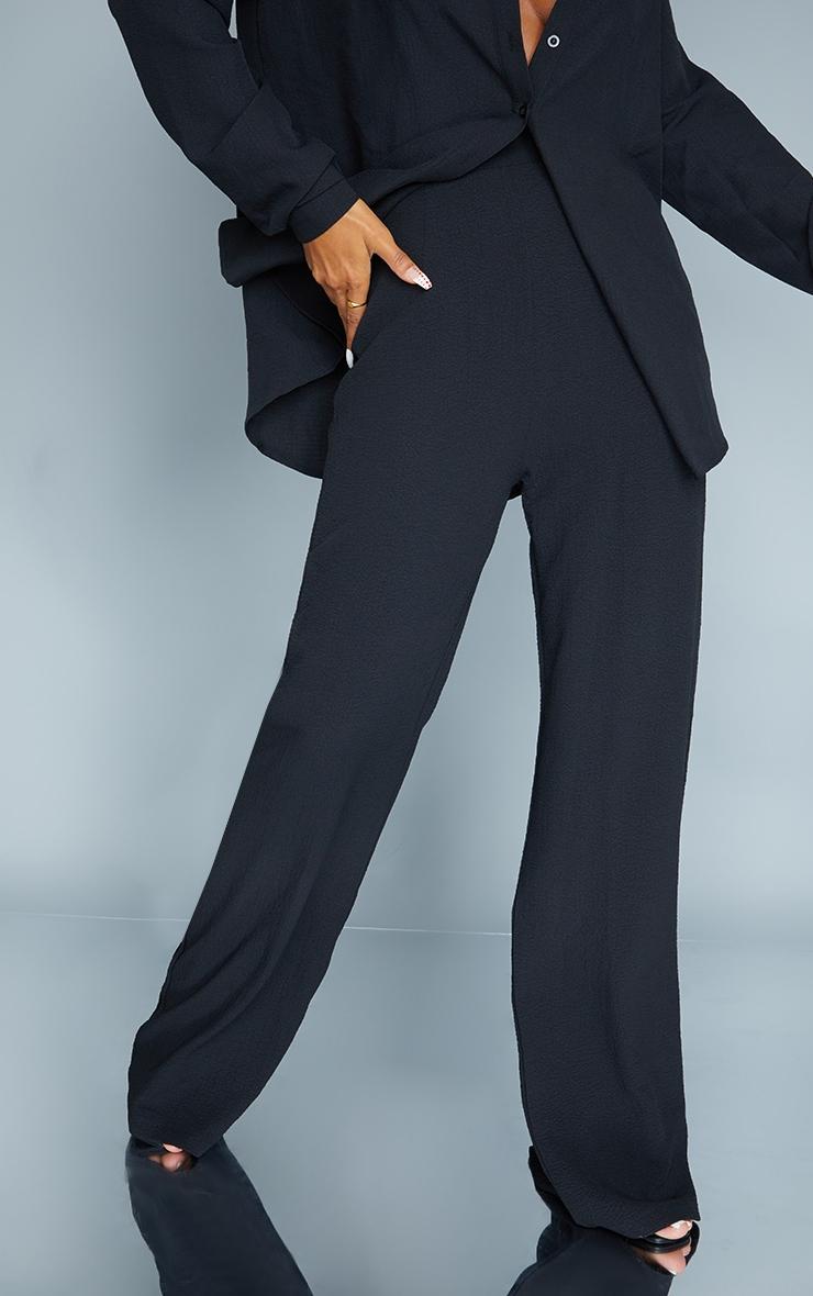 Black Textured Crinkle Wide Leg Pants 2
