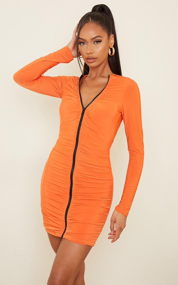 Orange Slinky Ruched Zip Through Bodycon Dress