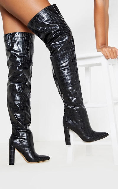 Black Thigh High Point Block Heel Boot