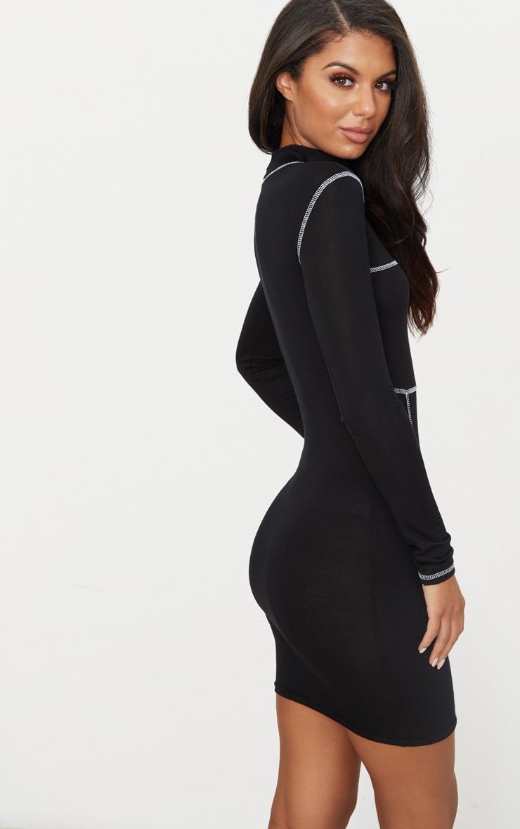 Black Contrast Stitching Long Sleeve Bodycon Dress 2