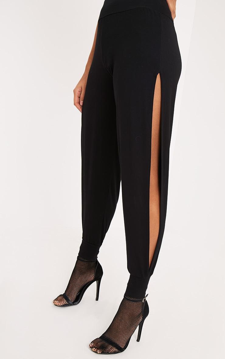 Chasity pantalon en jersey fendu sur le côté noir 5