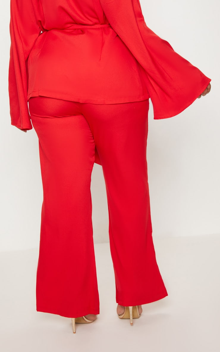 Plus Red Wide Leg Suit Trousers 4