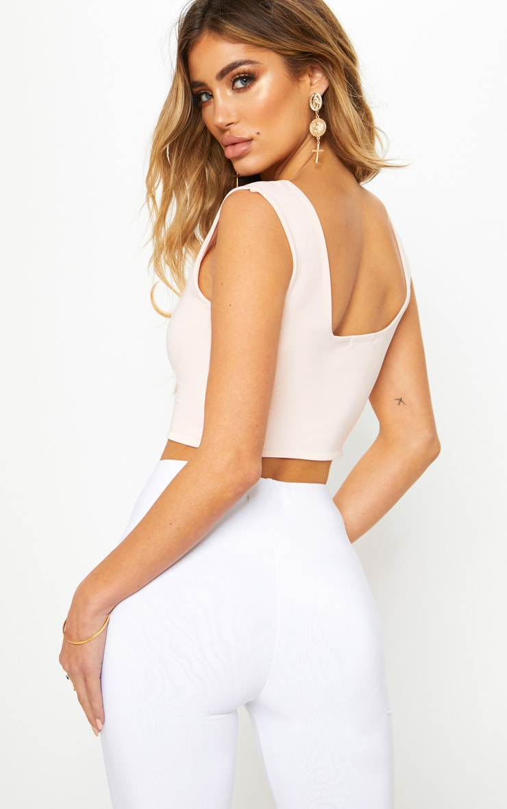 Nude Second Skin Slinky Square Neck Crop Top 2