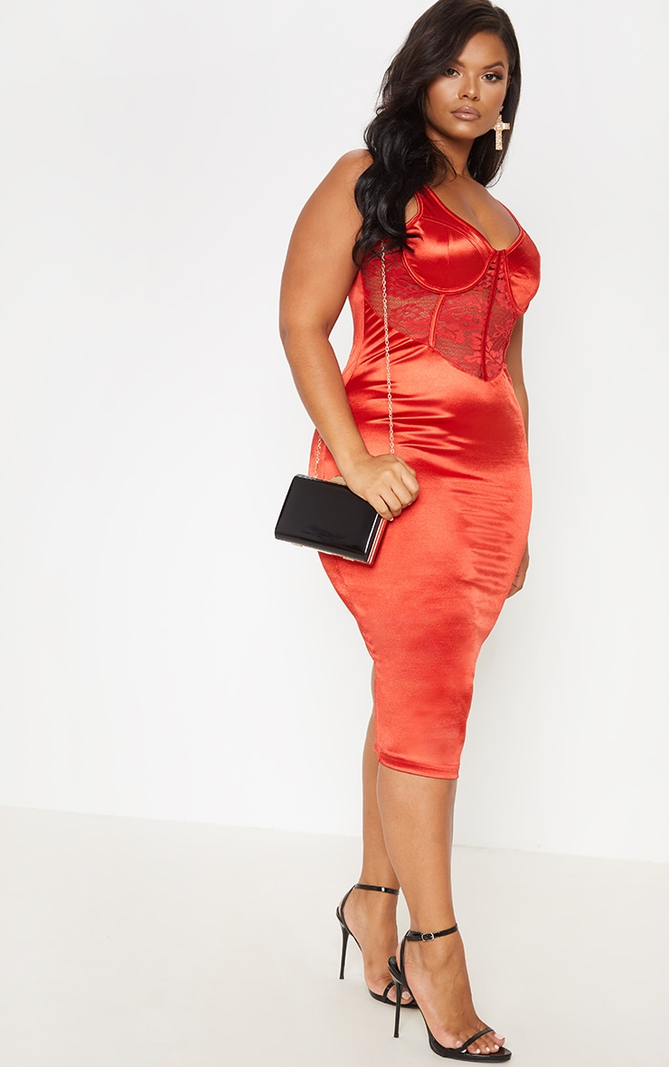 Red Satin Bustier Lace Insert Midi Dress 5