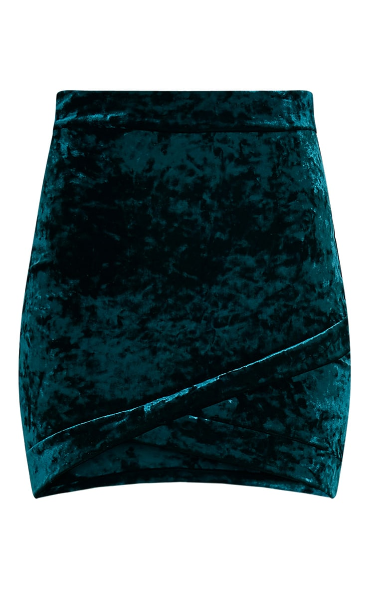 Gabriella Emerald Green Velvet Wrap Hem Mini Skirt 3