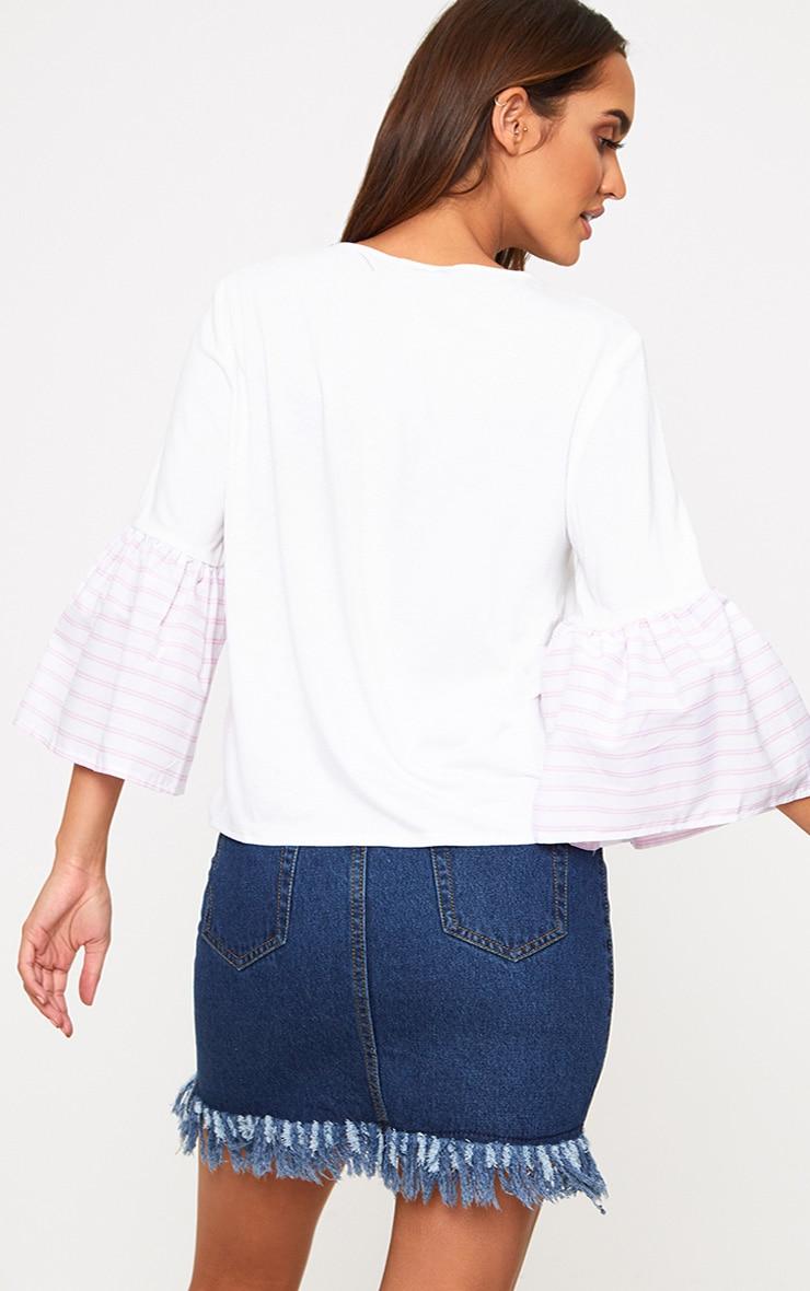 Cream Stripe Frill Sleeve Jersey T Shirt 2