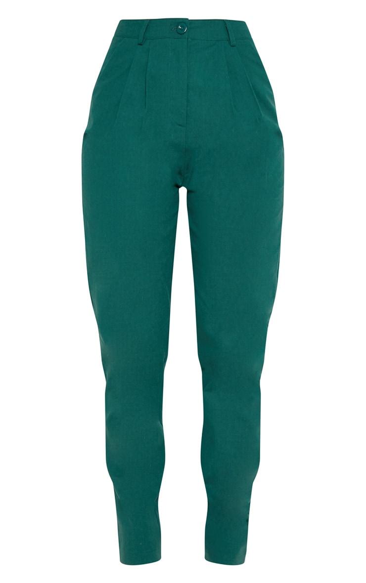 Pantalon cigarette vert émeraude plissé 3