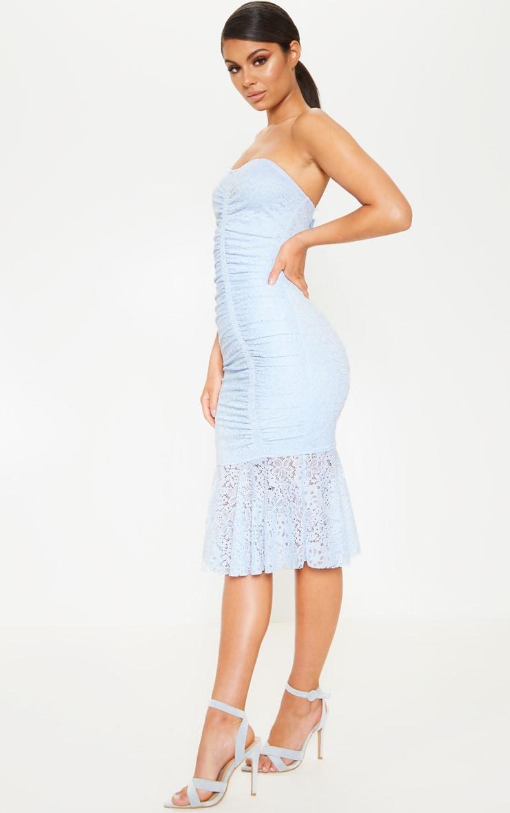 Baby Blue Ruched Lace Asymmetric Hem Bandeau Midi Dress 4