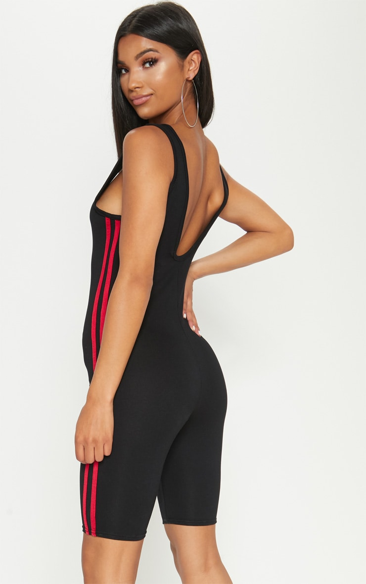 Black  Contrast Stripe Unitard  2