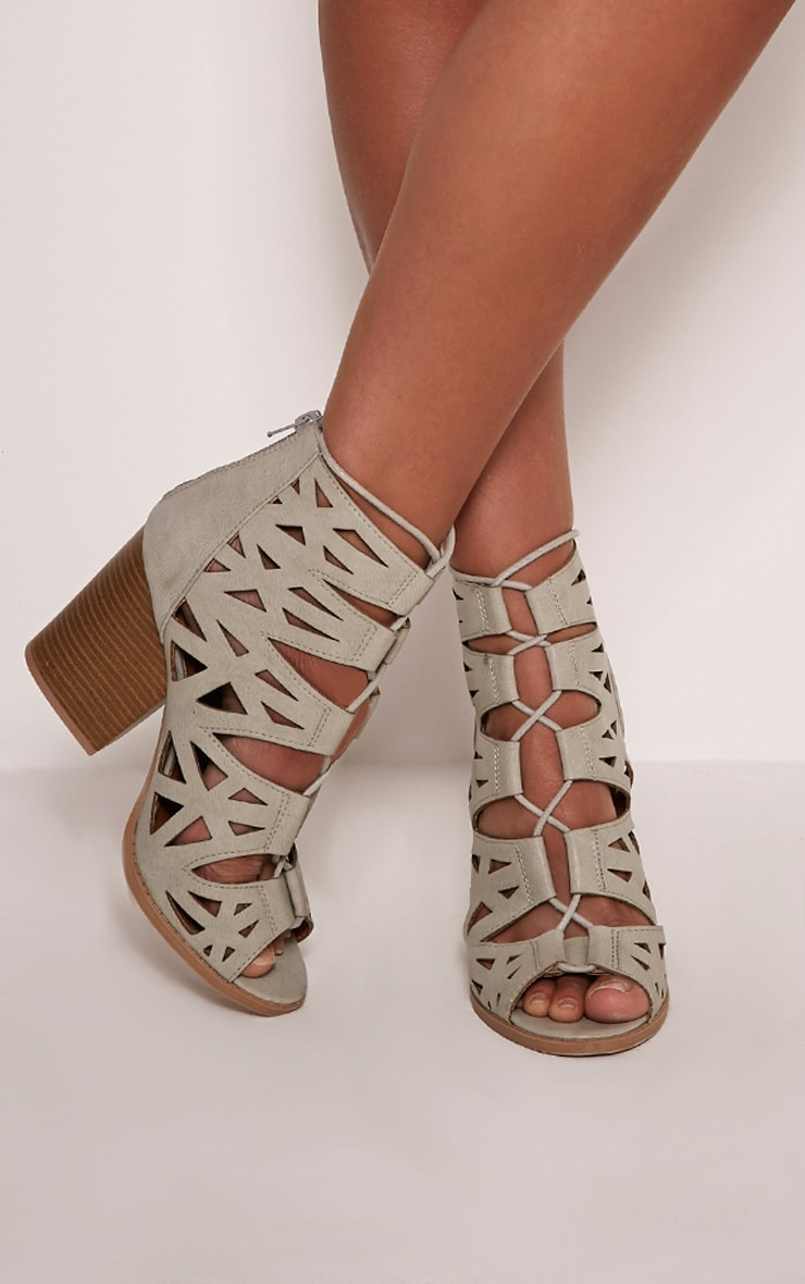Keeley Grey Cut Out Lace Up Heeled Sandals 1