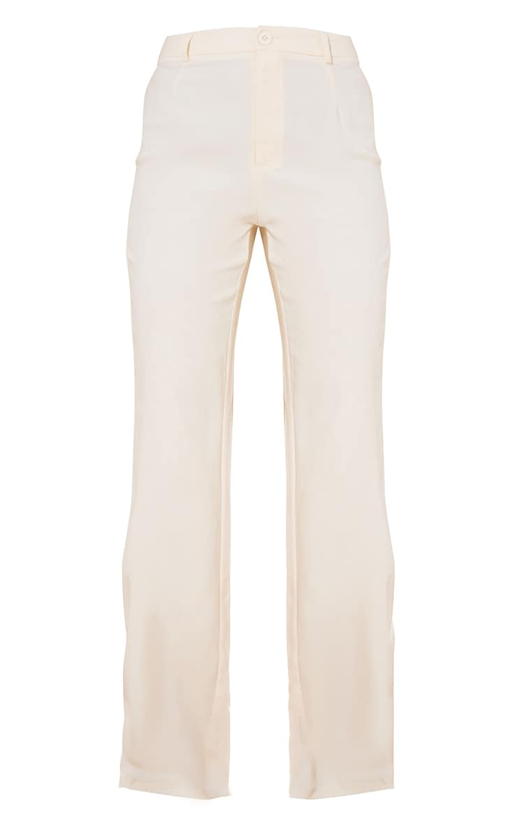 Cream Woven High Waist Tailored Trousers 5