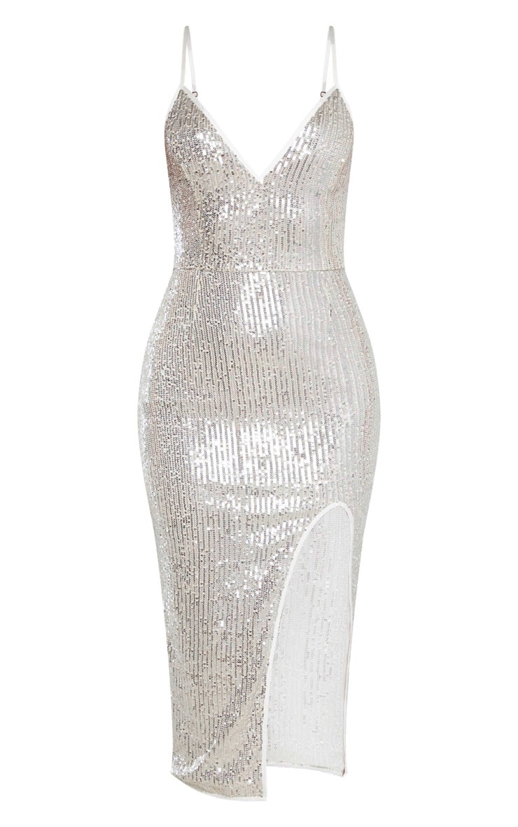 Silver Sequin Split Midi Dress 4
