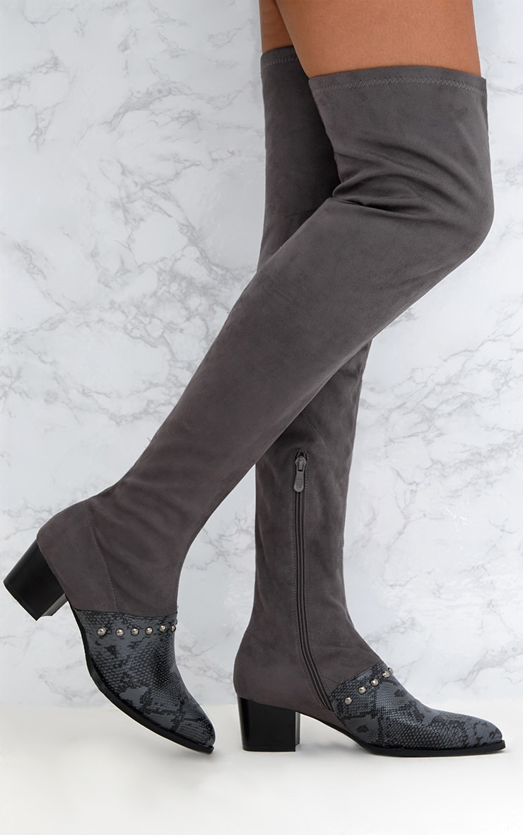 Grey Studded Contrast PU Over The Knee Boots 1