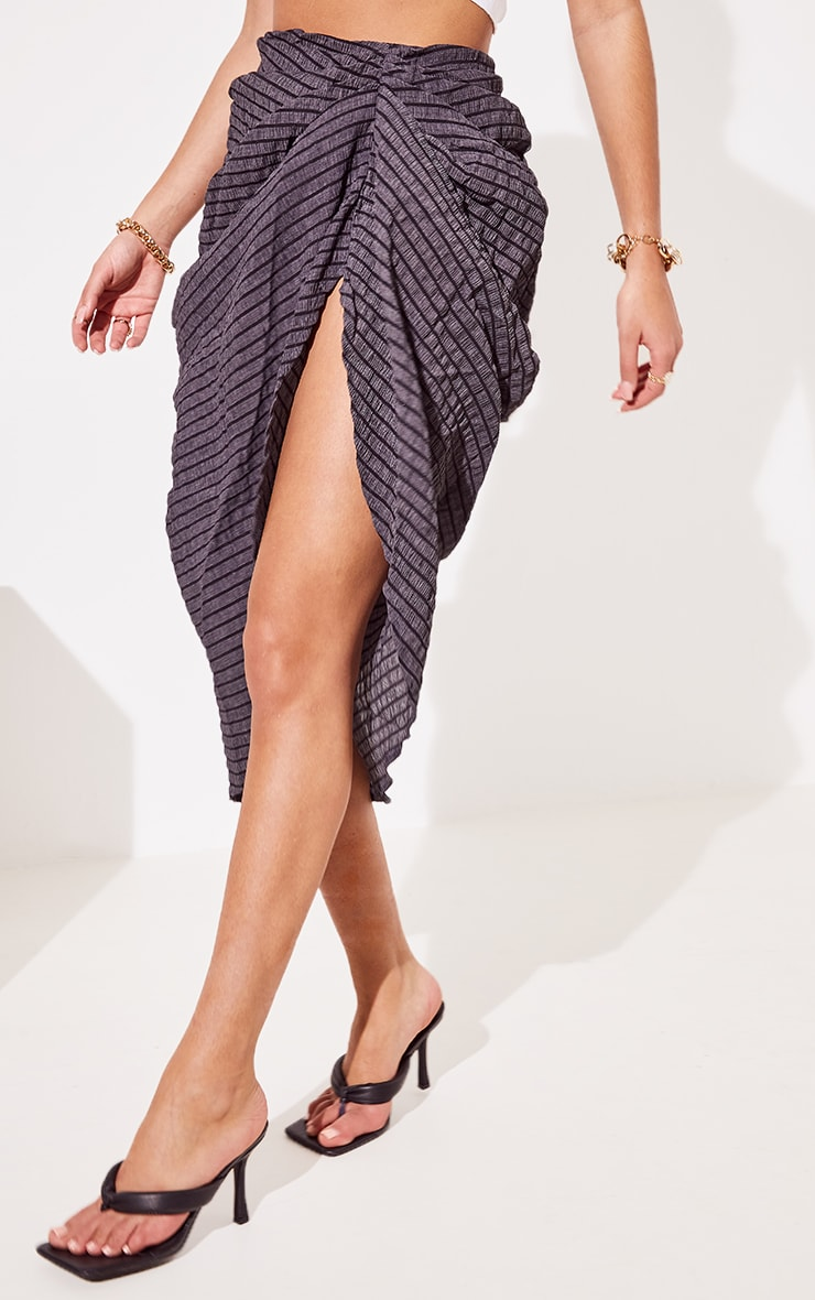 Black Textured Crepe Ruched Side Midi Skirt 2