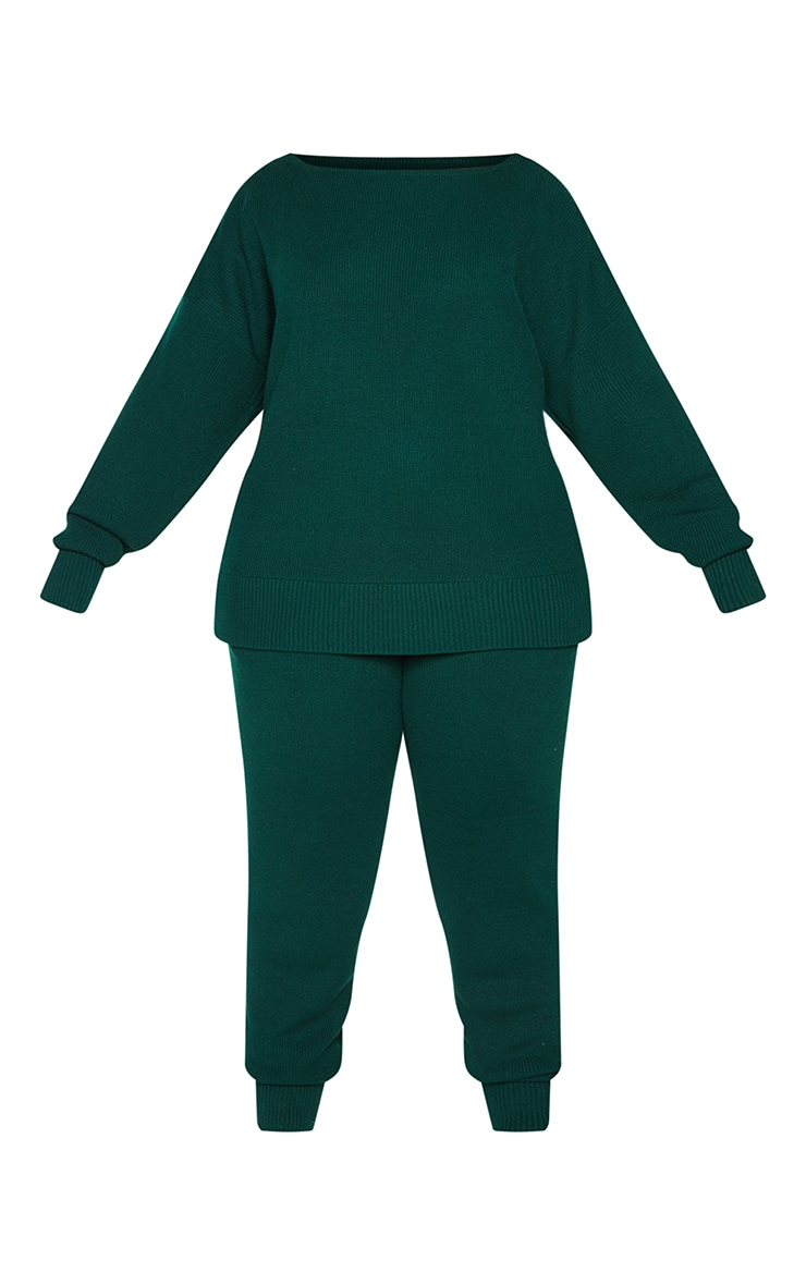 Plus Bottle Green Knitted Lounge Set 5