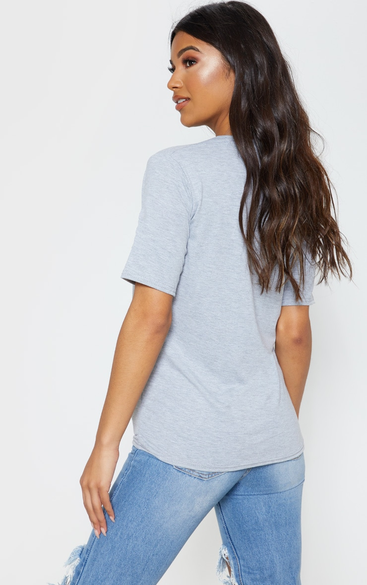 Basic Grey V Neck T Shirt 2
