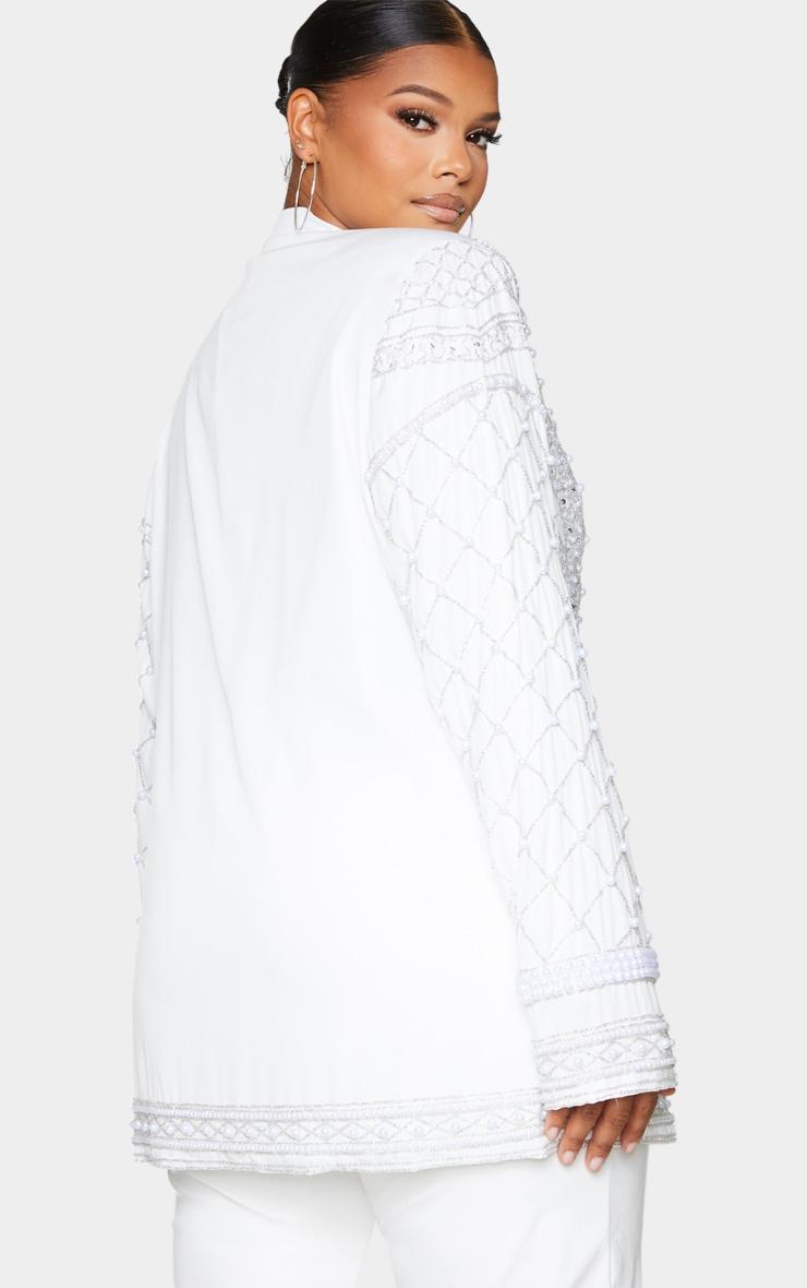 Plus White Premium Embellished Beaded Oversized Blazer 3