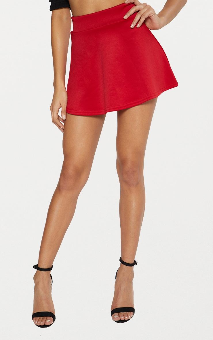 Red Scuba Flippy Mini Skirt  2