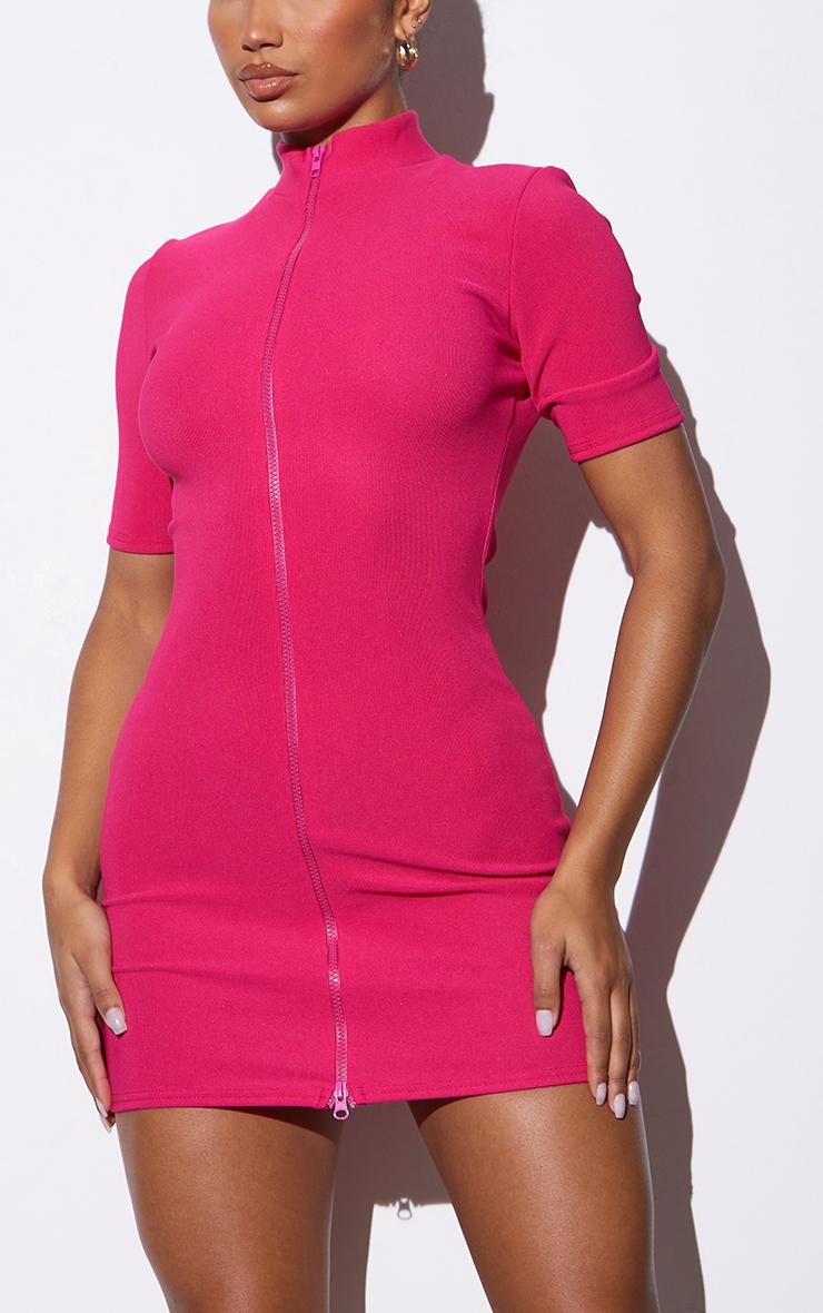 RENEW Pink Rib Double Zip Short Sleeve Bodycon Dress 4