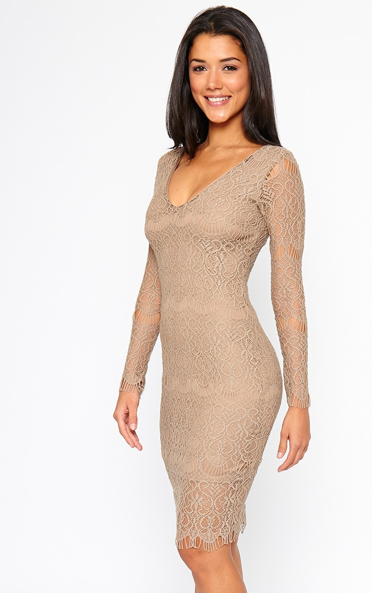 Lenix Mocha Lace Midi Dress 1