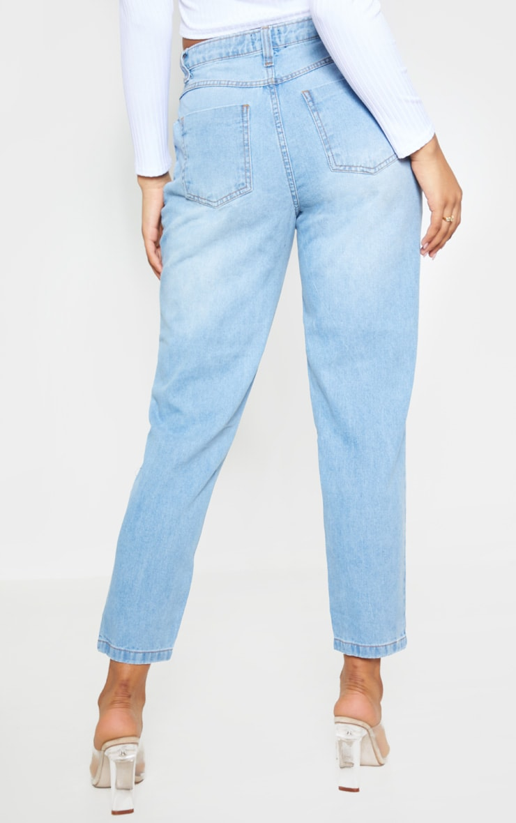 Tall  Light Wash Extreme Distressed Rip Mom Jeans 5
