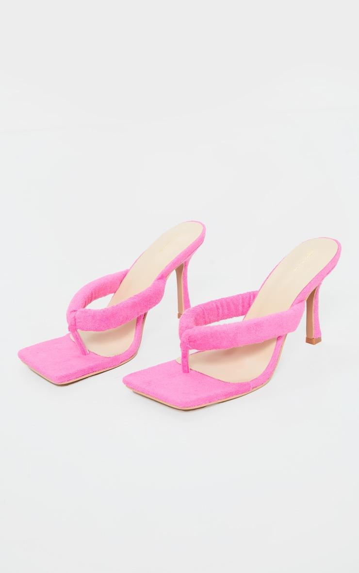 Pink Towelling Tube Strap Toe Thong Mid Heels 3