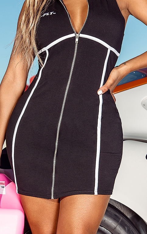 PRETTYLITTLETHING Shape Black Zip Up Binding Detail Bodycon Dress 4