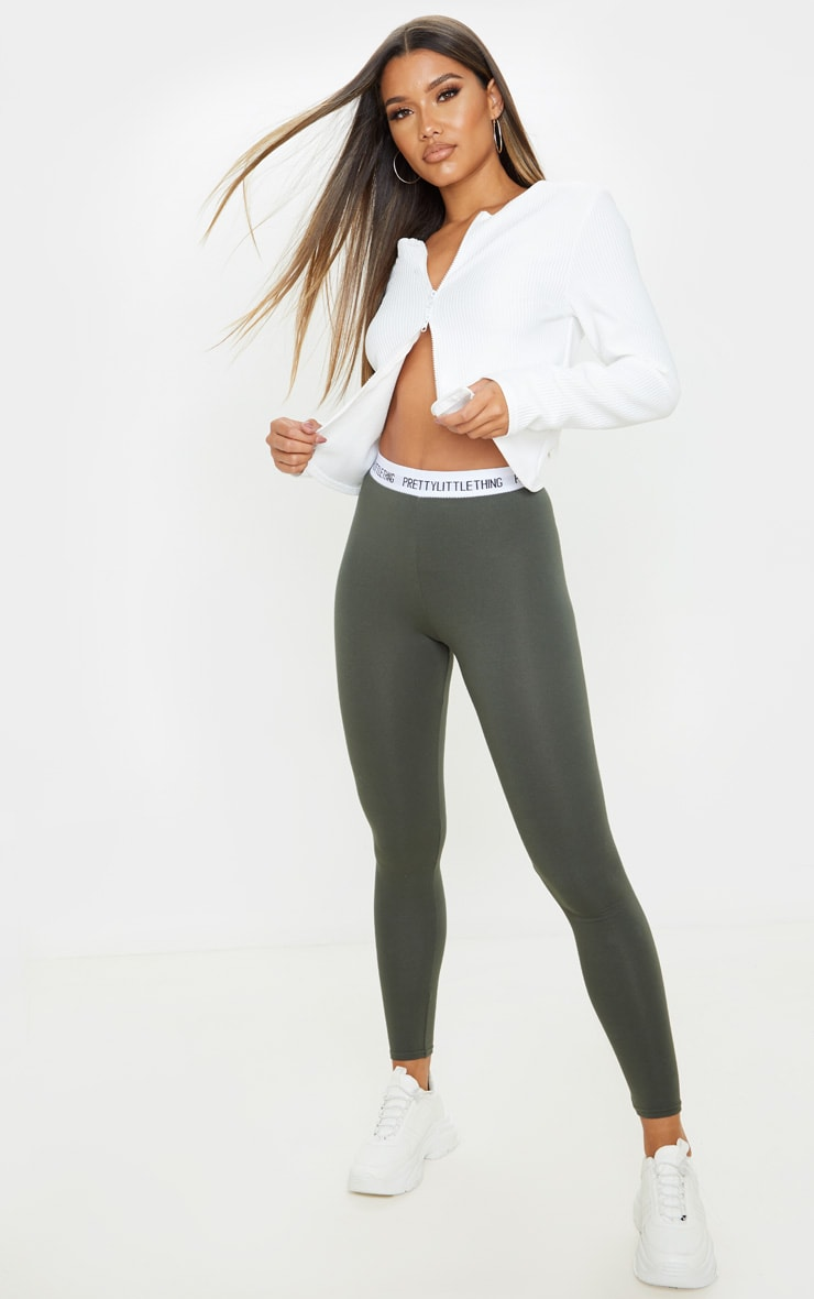 PRETTYLITTLETHING Khaki Leggings 1
