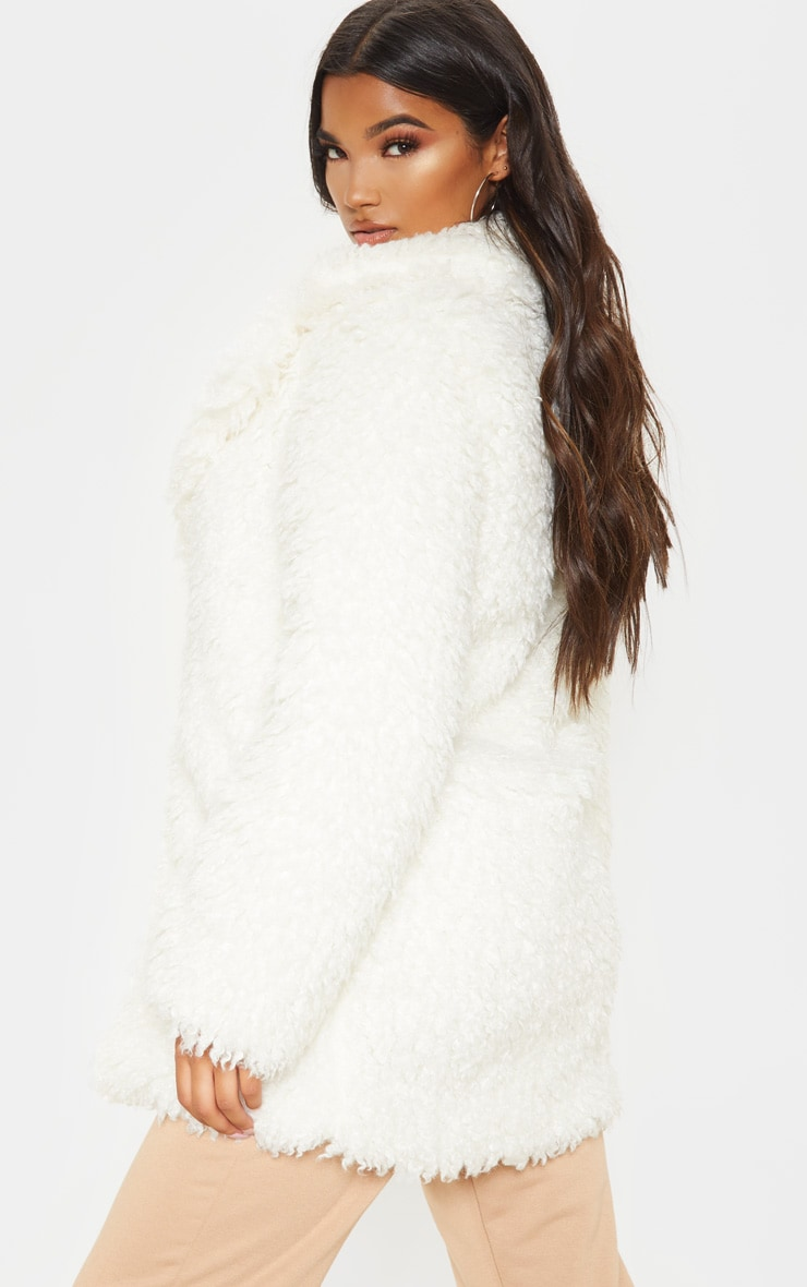 White Teddy Faux Fur Coat 2