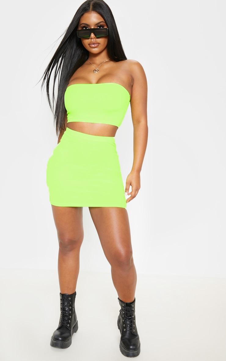 Neon Yellow Mini Skirt 1