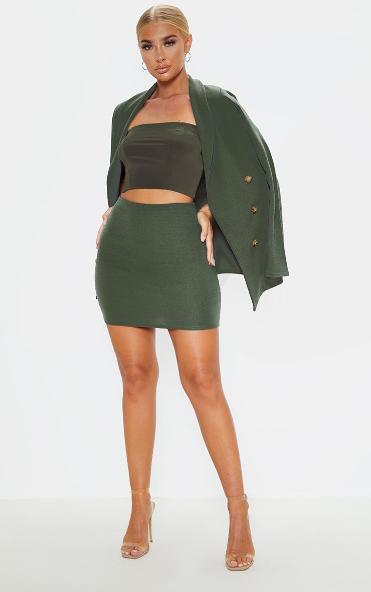 Khaki Mini Suit Skirt 5